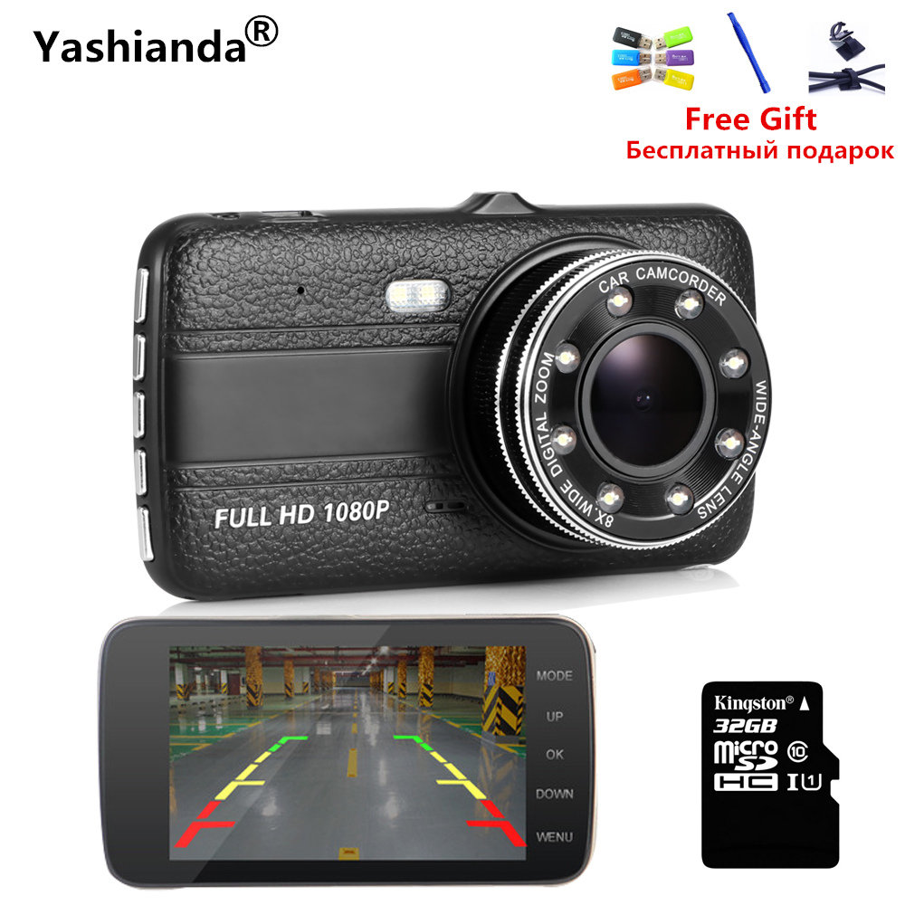 Yashianda Vehicle Car DVR Camera Dual Lens IPS 4.0 Full HD 1290*1280 Video Recorder Night Vision Car Camcorder DVRs Dash Cam