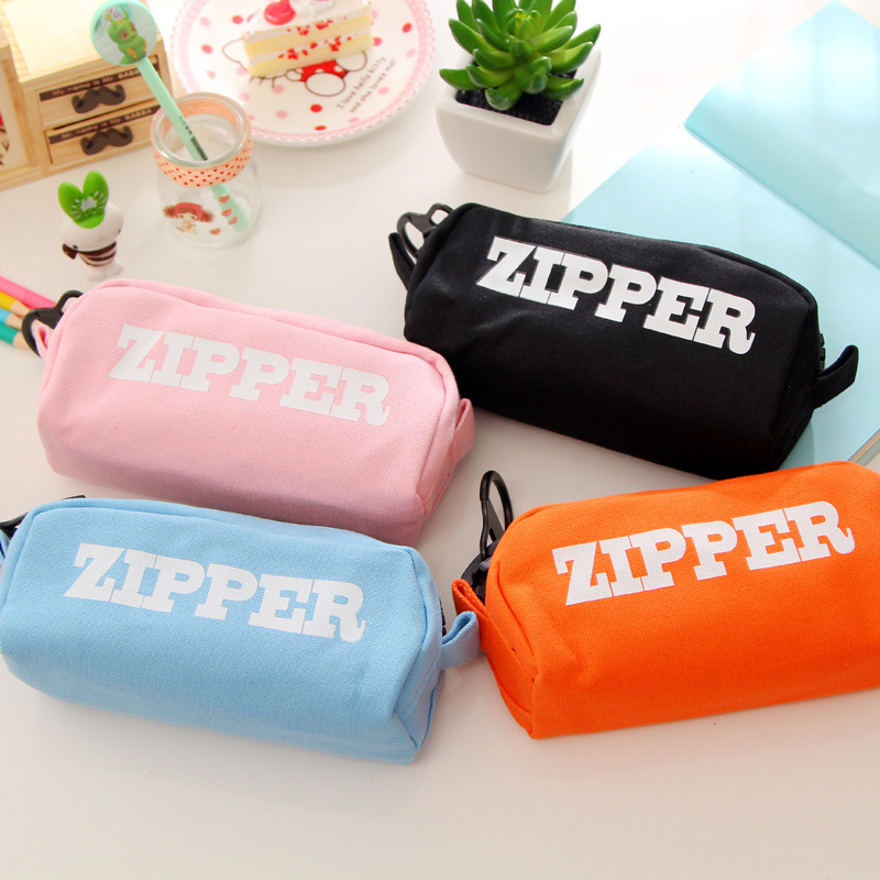 Big zipper pencil bag Canvas zip school pen pencil case Stationery organizer Storage bag pencilcase Office supplies A6350