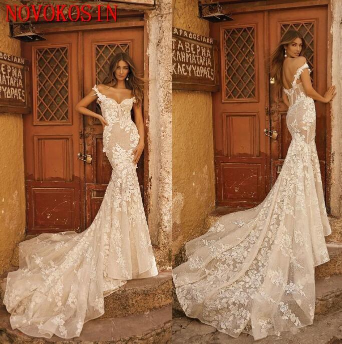 2019 Modern Berta Lace Mermaid Wedding Dresses Backless