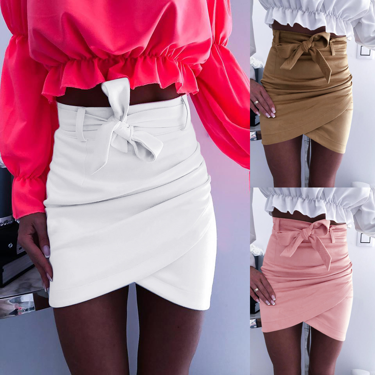 New Women's Ladies Sexy Skirt Casual Solid High Waist Pencil Bodycon Hip Short Mini Skirt Summer Women