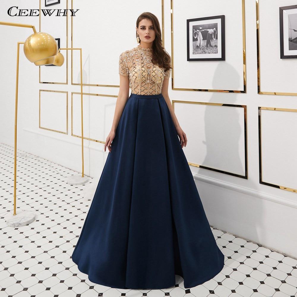 24e9d191fdf CEEWHY Высокий воротник кристалл Бисер арабское вечернее платье короткий  рукав Пром платья Длинные элегантные платье из