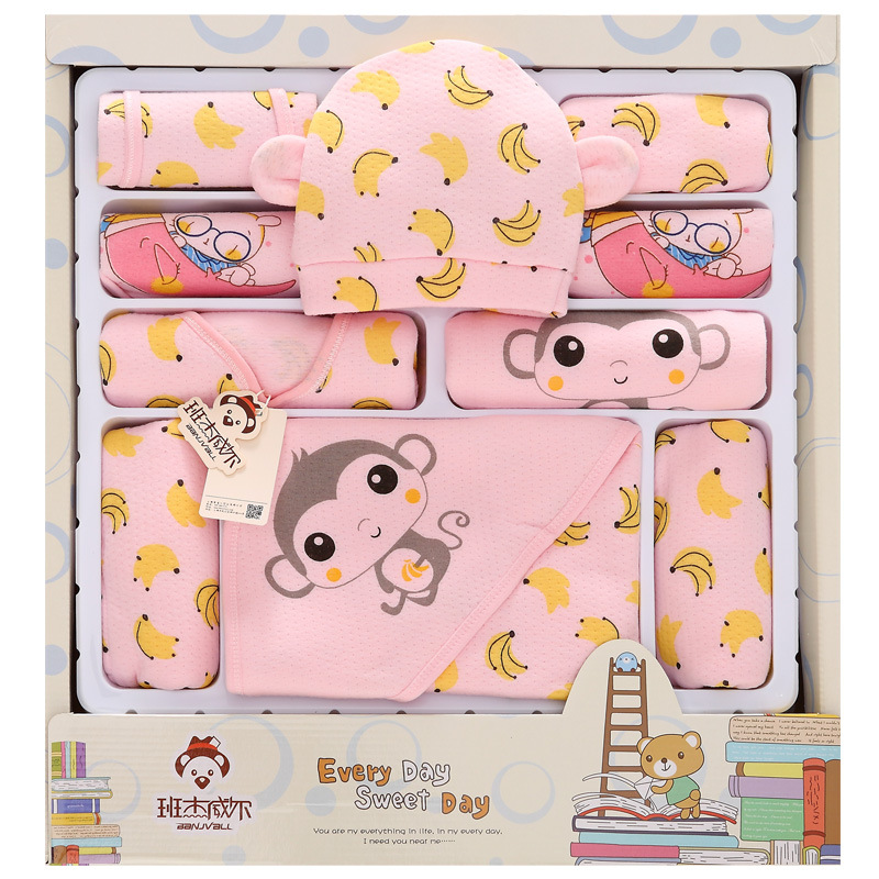 18Pcs Lot 2019 Newborn Baby Girl Clothes Autumn Banana Monkey Gift Box Set Thick Cotton Character Baby Boy Clothes in Clothing Sets from Mother Kids
