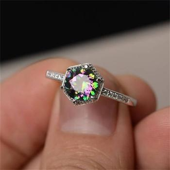 Luckly Hot Colorful Zircon Mystic Creative Personality Inlaid Rainbow Gem Ring For Women Jewelry Gift Drop Shipping
