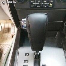 עור אמיתי שחור אוטומטי לרכב ציוד Shift Knob כיסוי לקאיה סורנטו 2004 2005 2006 2007 2008