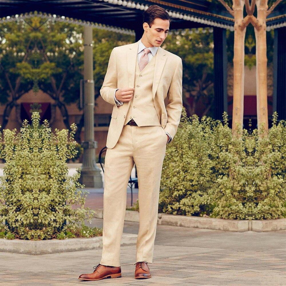 Nowe niestandardowe wykonane z najlepszych człowiek garnitury ślubne dla mężczyzn garnitur pana młodego/Groomsmen beżowy smokingi garnitury męskie garnitury ślubne (kurtka + spodnie + kamizelka + krawat) w Garnitury od Odzież męska na  Grupa 1