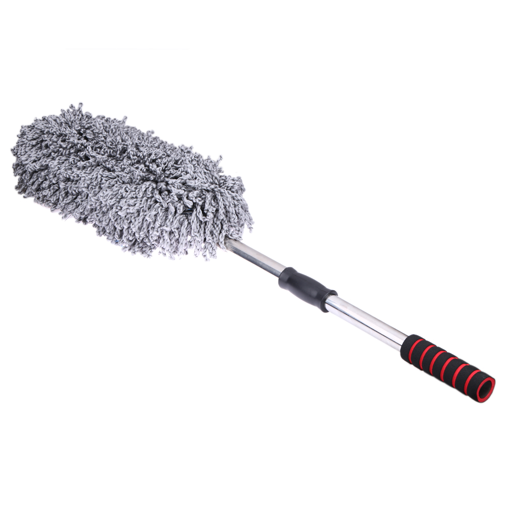 Microfiber Car Cleaning Brush Auto Window Duster Retractable Stainless Steel Long Handle Dust Wax Washable Drag Wax Shan Washer