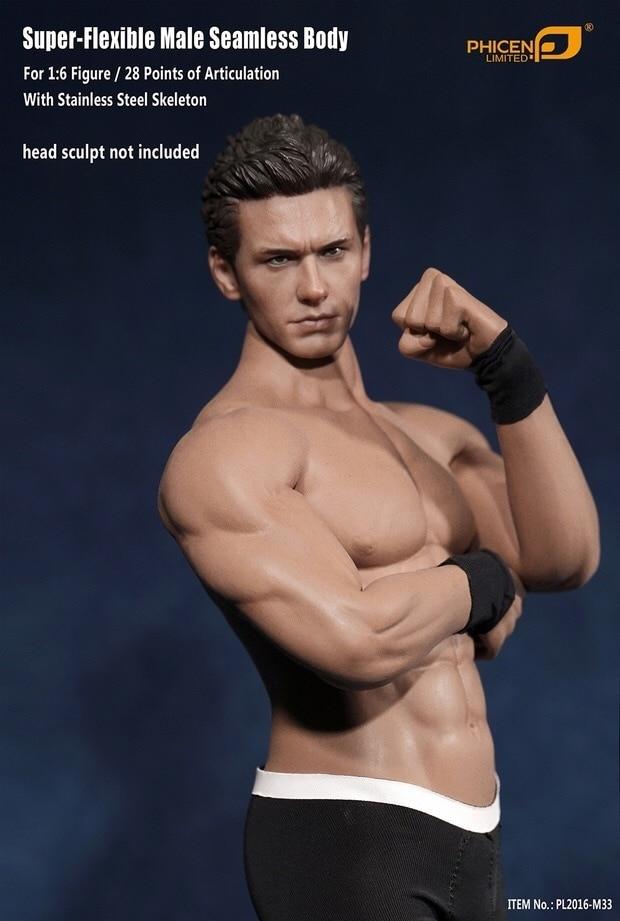 1//6 David Beckham Head Sculpt w// PHICEN M33 Seamless Male Muscular Figure Set