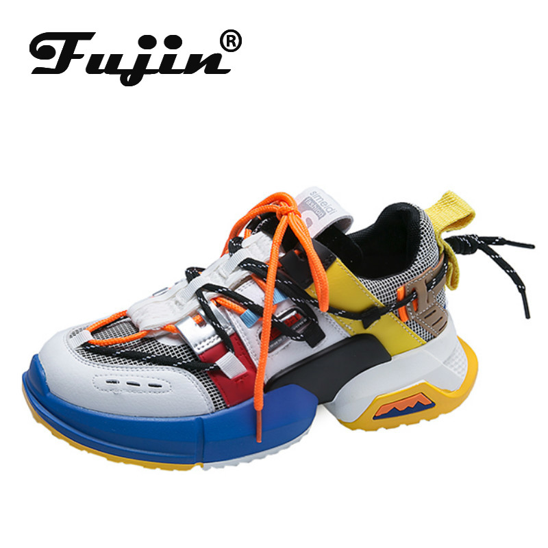 Fujin 2019 Sneakers Women Trendy Chunky Dad Shoe Dropshipping Laces Platform Shoes New Color Matching Sneakers Chaussures Autumn