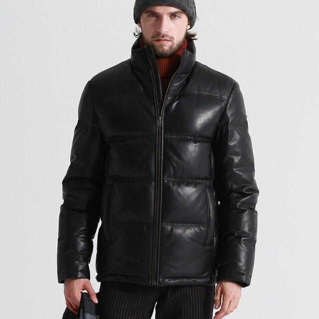 YOLANFAIRY Geniune Leather Jacket Men Sheepskin Leather Goose Down Coat Quality Winter Warm Thick Plus Size 5XL Outwear MF381