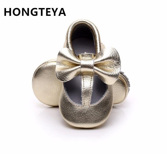 HONGTEYA Gold Buckle T-bar design baby moccasins Ægte læder nyfødte dreng pige spædbarn Prewalkers First Walker Crib baby sko