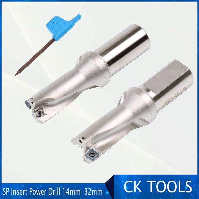 Brocas de broca indexáveis da inserção do sp 2d da broca de u do cnc da elevada precisão 14 32mm para o metal 13 14.5 15.5 broca de u da potência do diâmetro