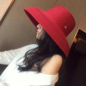 Image 2 - 13cm szerokie rondo kapelusz przeciwsłoneczny na plażę duże dyskietki kobiety kapelusz na lato czerwony czarny biały czerwony UV osłona przeciwsłoneczna słomkowy kapelusz składany Travel Derby Hat