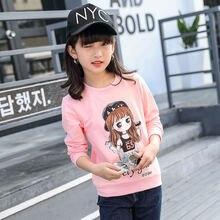 Spring 2019 Cotton Long Sleeve T Shirts for Kids Girls Toddler Baby Cartoon Rabbit Tops Teenage White Sweatshirts Children Tees