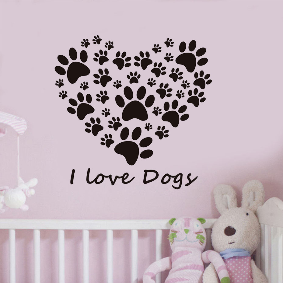 Home Goods Wall Decor: I Love Dogs Paw Vinyl Sticker For Bedroom Removable Home