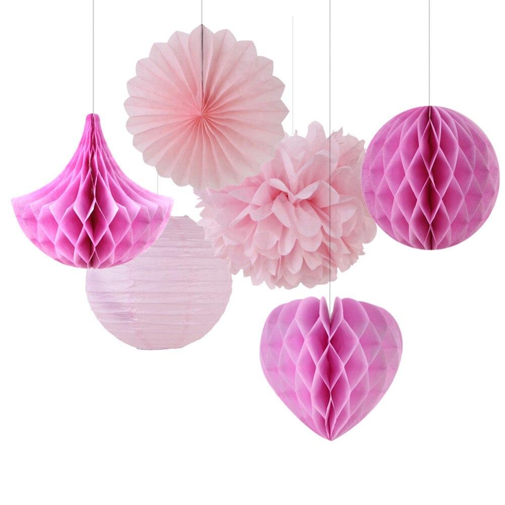 6pcs Pink Shade Party Decoration Set(Honeycomb Bal...