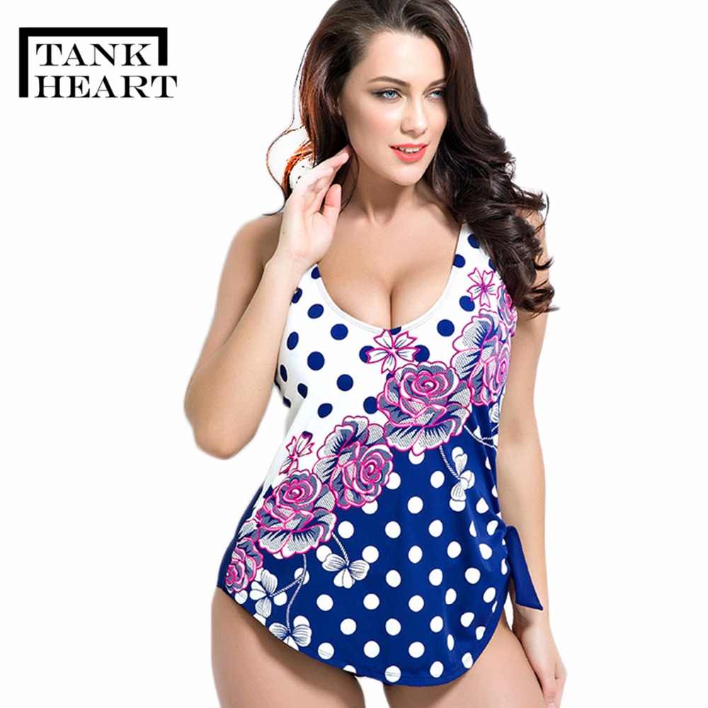 Tank Heart Floral Dot Plus Size One Piece Female Swimwear Women Swimsuit Bathing Suits Swimming Large Sizes Women Surf Bathers laivaors new swimwear women 2018 professional one piece swimsuit female sport competition swimming suits plus size bathing suits