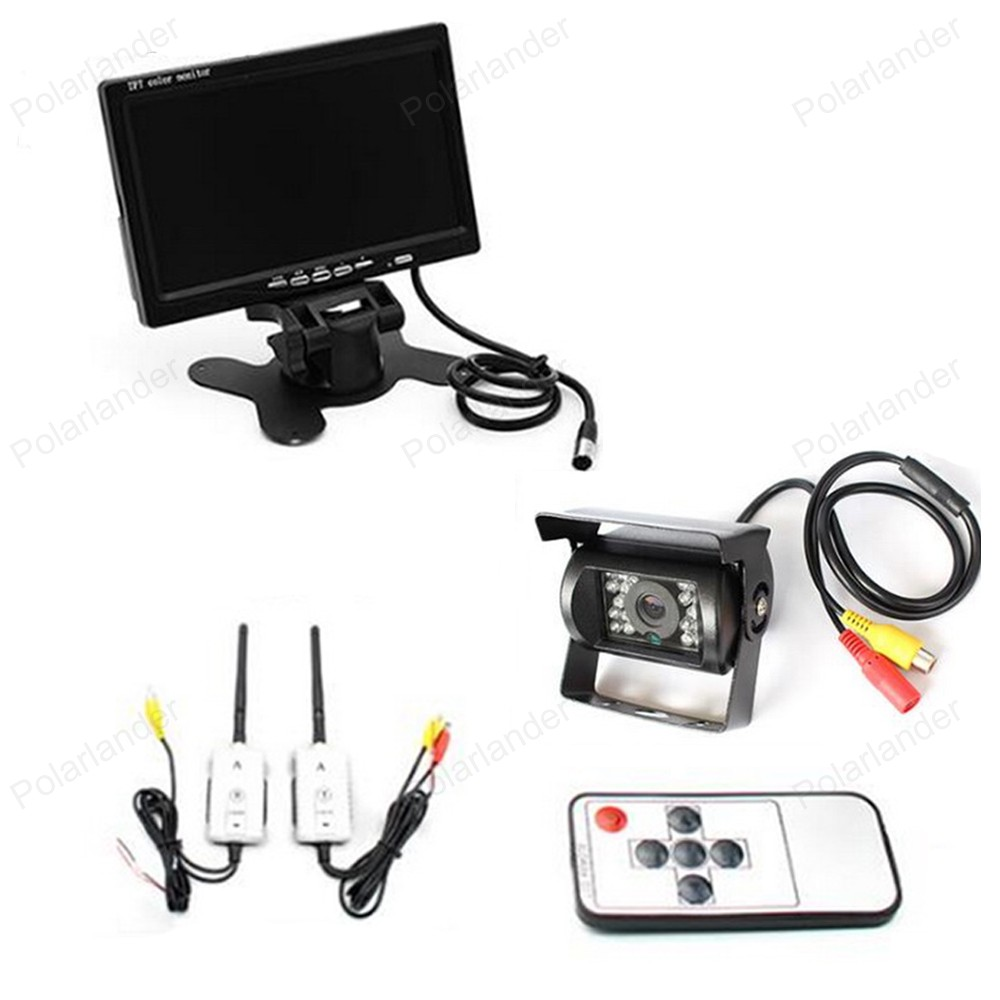 7 Inch TFT LCD Car Monitor 800*480 Screen with 18 LED Night Vision Parking Rear view Camera 2.4G wireless for Truck Bus
