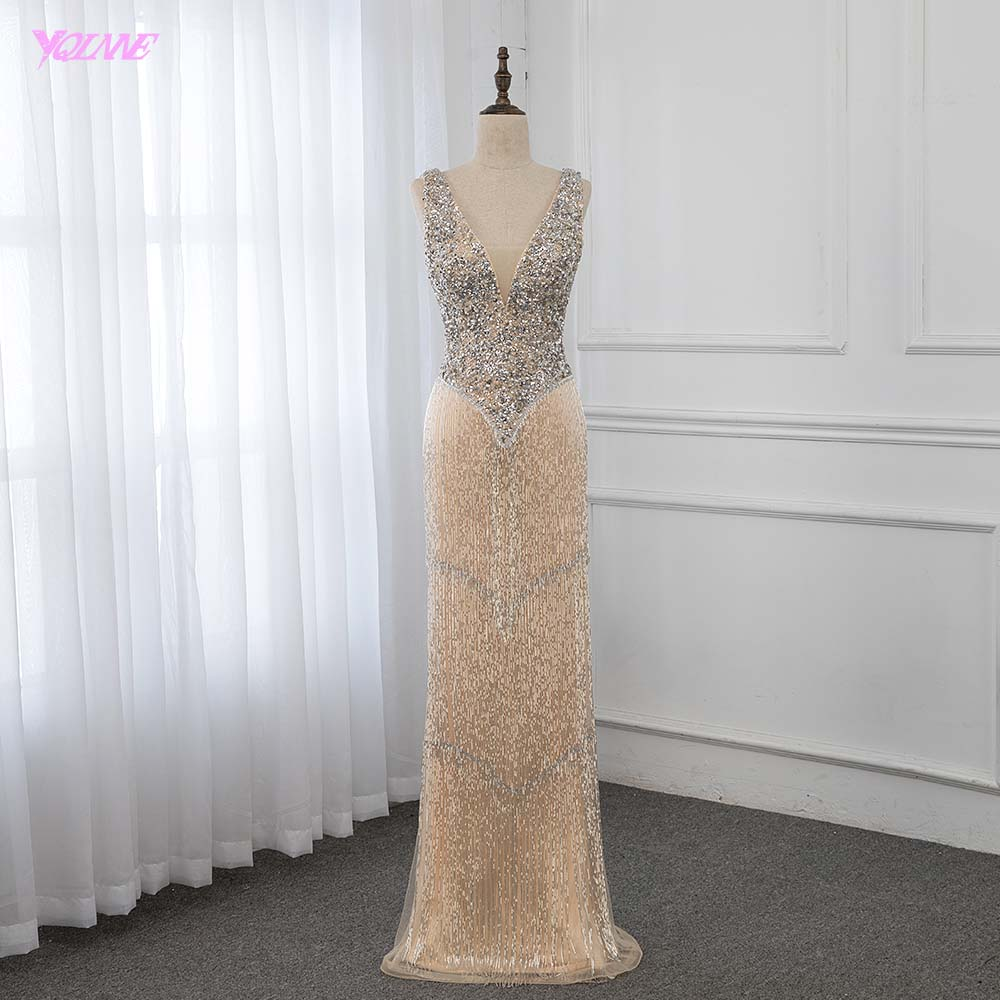 Luxury Deep V-neck Gold Crystals   Evening     Dress   Long Beaded Mermaid   Dress   Formal Gown YQLNNE