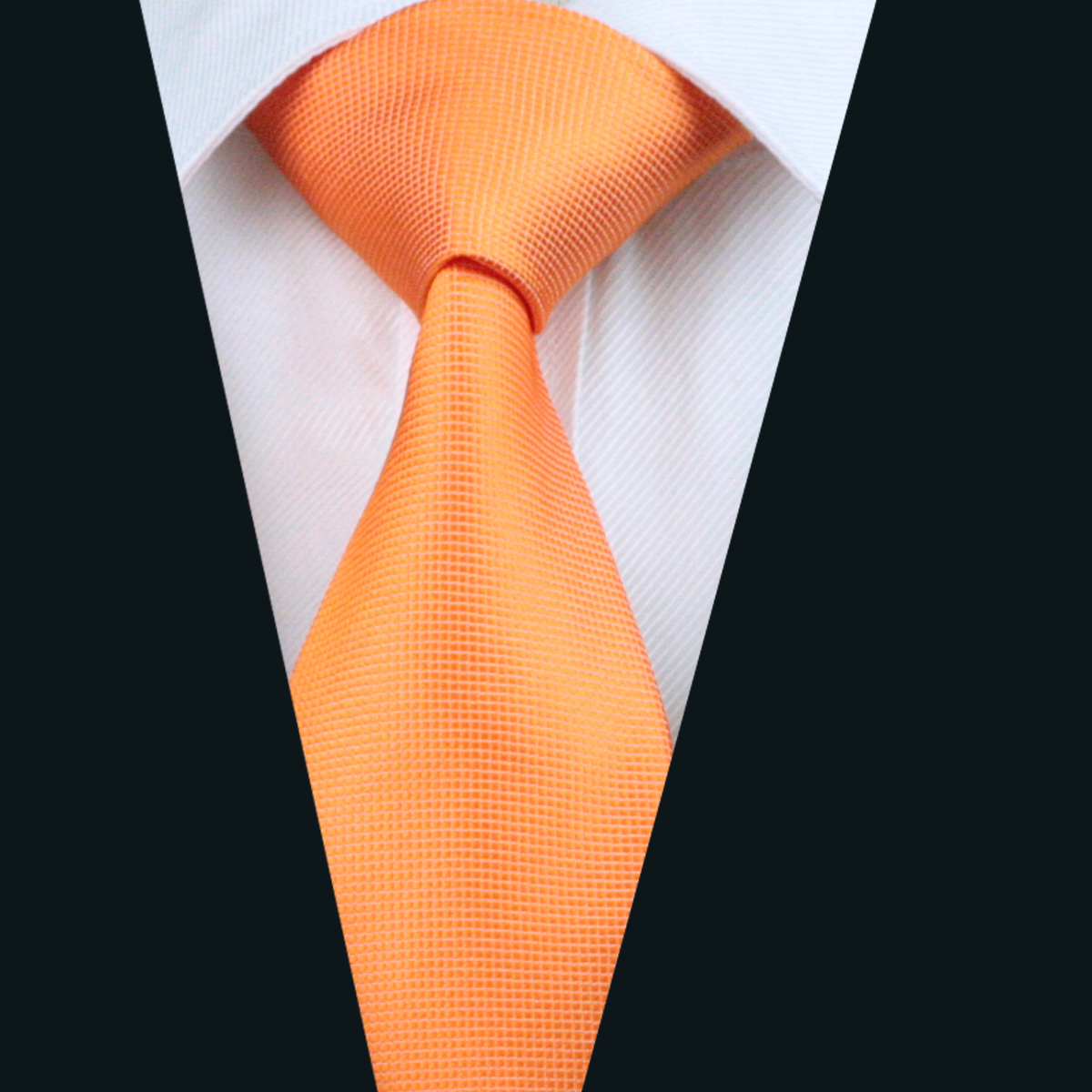 DH-266 Mens Silk Tie Orange Solid Neck Tie 100% Silk Jacquard Ties For Men Business Wedding Party Free Shipping