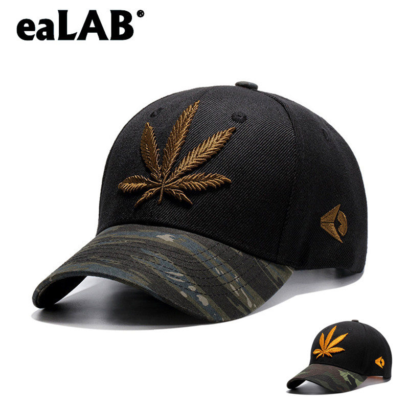 eaLAB Baseball Cap Men Summer Dad Hat Women Hemp Leaf Embroidery Camouflage Visor  Adjustable Casual Snapback 563814da38d5