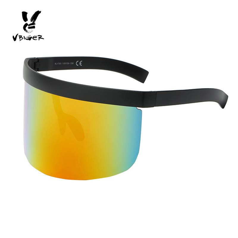 Vbiger Men Women Oversize Shield Visor Sunglasses Flat Top Sunglasses Mono Mirrored Lens Large Sunglasses with UV Protection