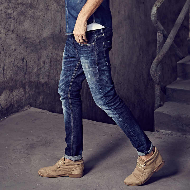 Autumn Men Jeans Cotton Patchwork Blue Color Pocket For Man Fashion Slim Fit Denim Pants 2018 New Male Wear Long Trousers 9396