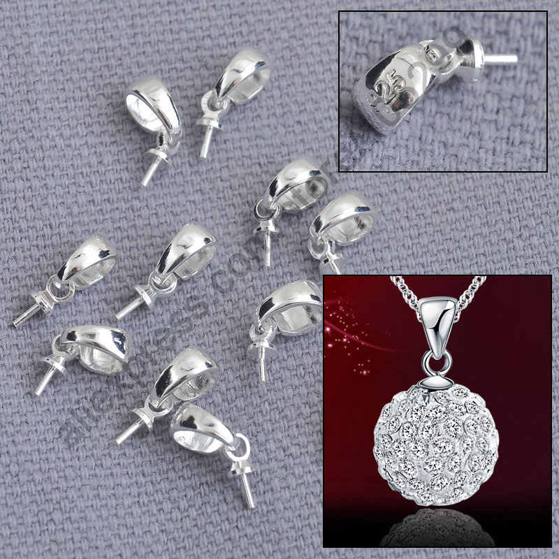 Free Shipping 200PCS Jewellery Sets Findings Genuine Pure 925 Sterling Silver Cup Cap Bail Connector For Pendant