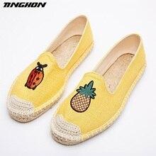 Fashion Ethnic Casual Espadrilles Ladybugs pineapple Flat New Women Spring Printed Embroider Slip on Fishermen Hemp Rope Shoe