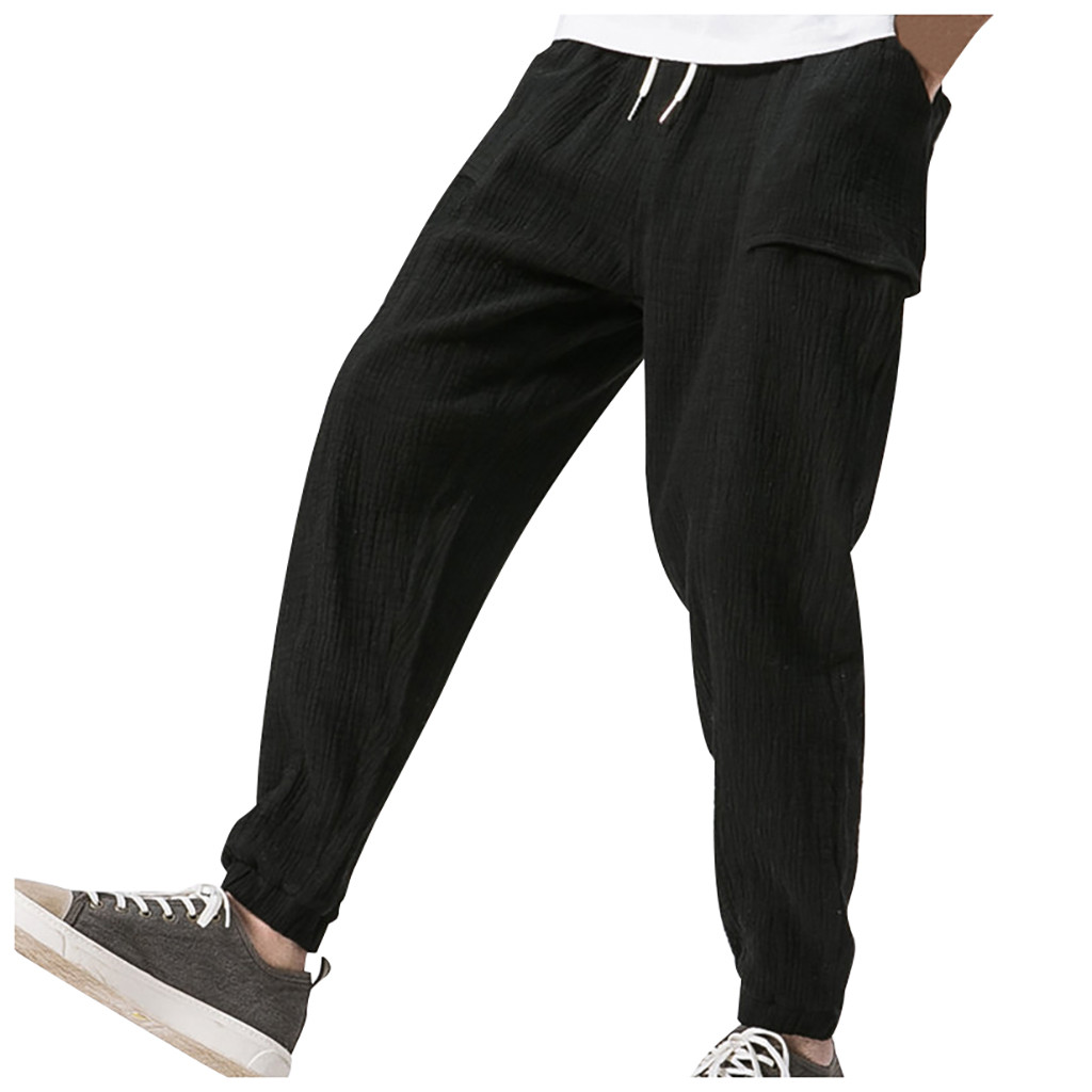 Fashion Pants Overalls Trouser Linen Casual-Pocket Sport-Work Man Splicing-Printed Men
