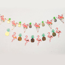 Pineapple Flamingo Happy Birthday Decoration Bunting Party Babyshower Wedding Wreath Garlands Candy Bar Decor Supplies Slingers все цены