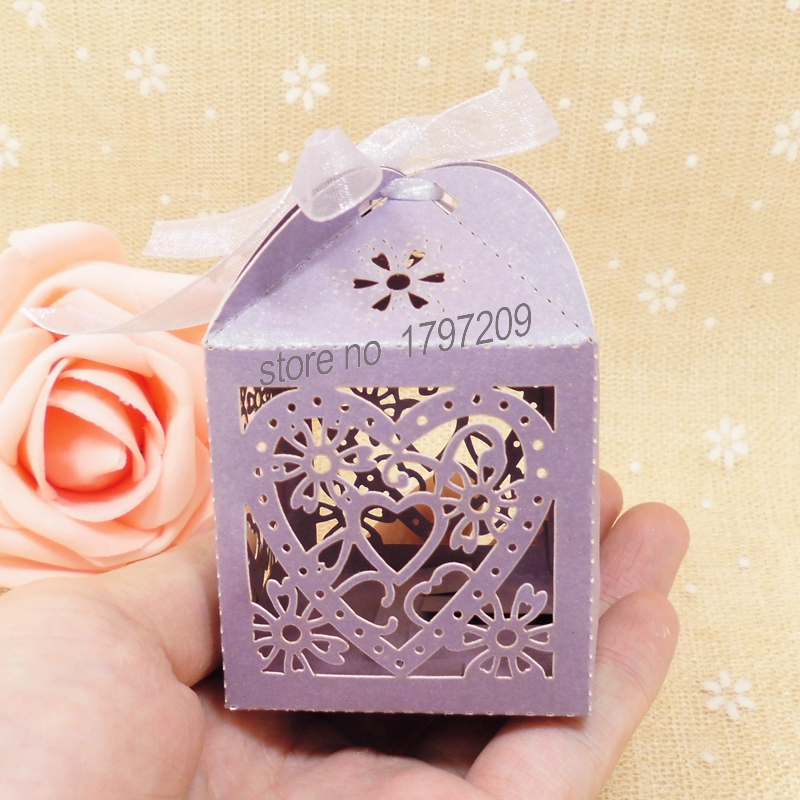 New 50pcs Laser Cut Paper Decoupage Candy Gift Boxes With Ribbon