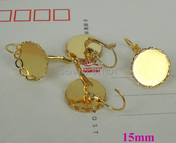 15mm New Gold tone Plated Round Bases Lace Bezel Cups French Style Clip Hook Cabochon Settings Earrings Blank Bulk Wholesale