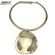 MANILAI Punk Golden Silver Color Collar Choker Necklace Maxi Metal Big Circle Pendants Torques Statement Necklaces For Women(China)
