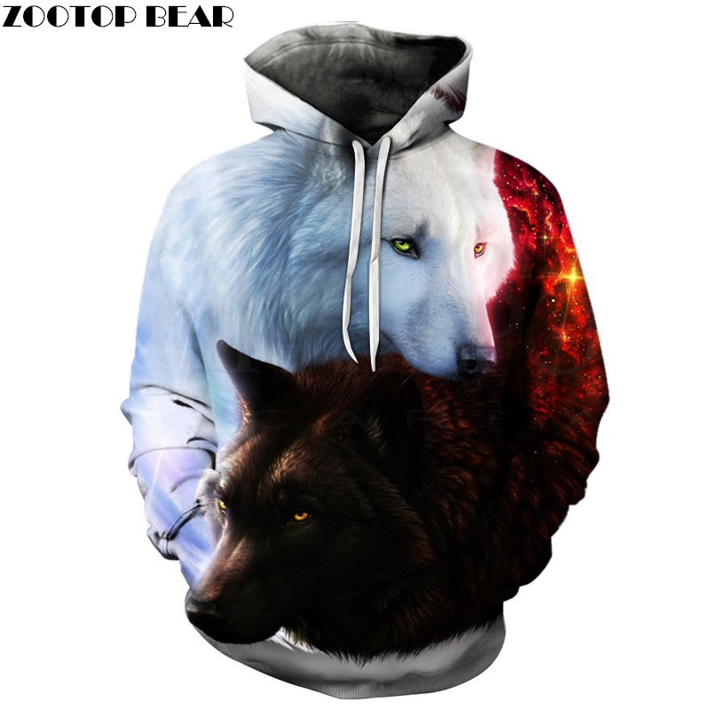 7cfd7dd21ec2 Wolf Printed Hoodies Men 3d Hoodies Brand Sweatshirts Boy Jackets Quality  Pullover Fashion Tracksuits Animal Streetwear Out Coat