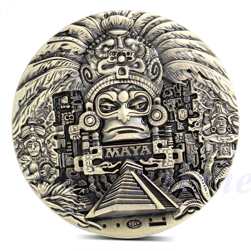 Maya Aztèque Calendrier Souvenir Prophétie Souvenir Pièce Jeton Art Collection Cadeau