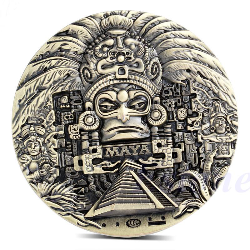 Mayan Aztec Calendar Souvenir Prophecy Souvenir Token Coin Art Collection Gift