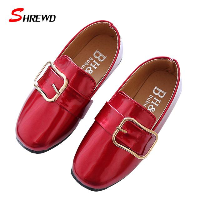 Menina crianças shoes nova primavera 2017 fivela casuais meninas sapatos de couro simples shoes cor sólida crianças shoes palmilha 16-18.5 cm 9551z