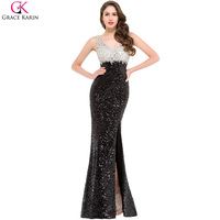 Luxury Sequin Long Mermaid Evening Dresses Grace Karin Side Slit Plus Crystal V Neck Sleeveless Party Prom Formal Dress