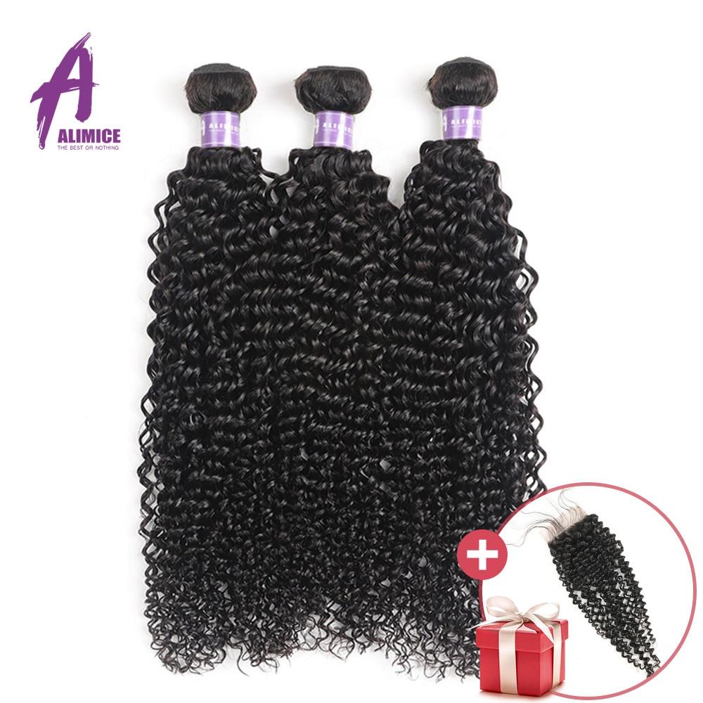 3/4 Bundles Apprehensive Free Closure Alimice Hair Brazilian Kinky Curly 3 Bundles Deal Brazilian Hair Weave Bundles 100% Remy Human Hair Weave 8-28 1b# Strengthening Sinews And Bones