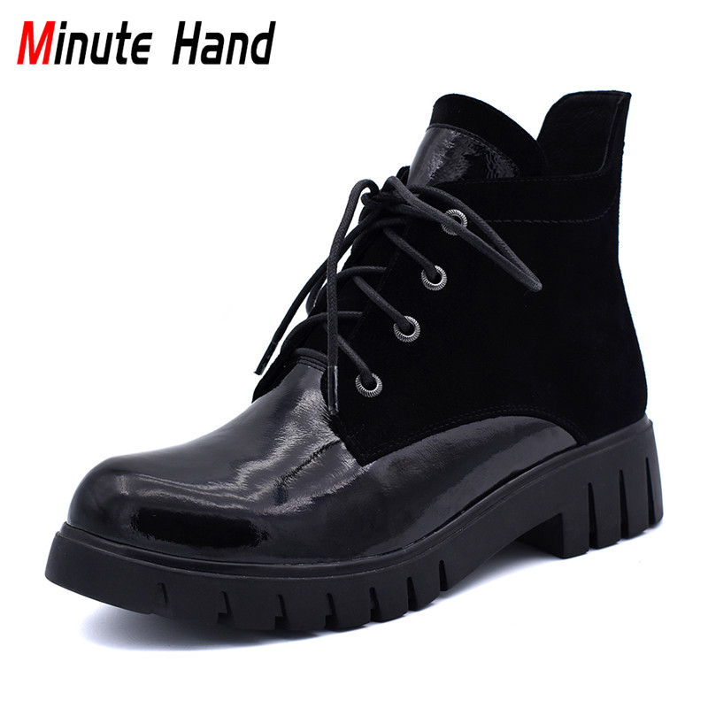 все цены на Minute Hand New Fashion Genuine Leather Winter Boots Women Round Toe Comfortable Chunky Heels Lace Up Ankle Boots Casual Shoes онлайн