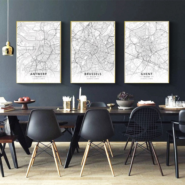 Antwerp Ghent Brussels Belgium City Map Canvas Art Print Wall Pictures for Living Room No Frame