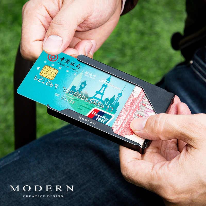 العلامة التجارية الألومنيوم حامل بطاقات صغير بطاقة محفظة حافظة بطاقات الائتمان الحد الأدنى الرجال محافظ محفظة سفر صغيرة منظم-Morden