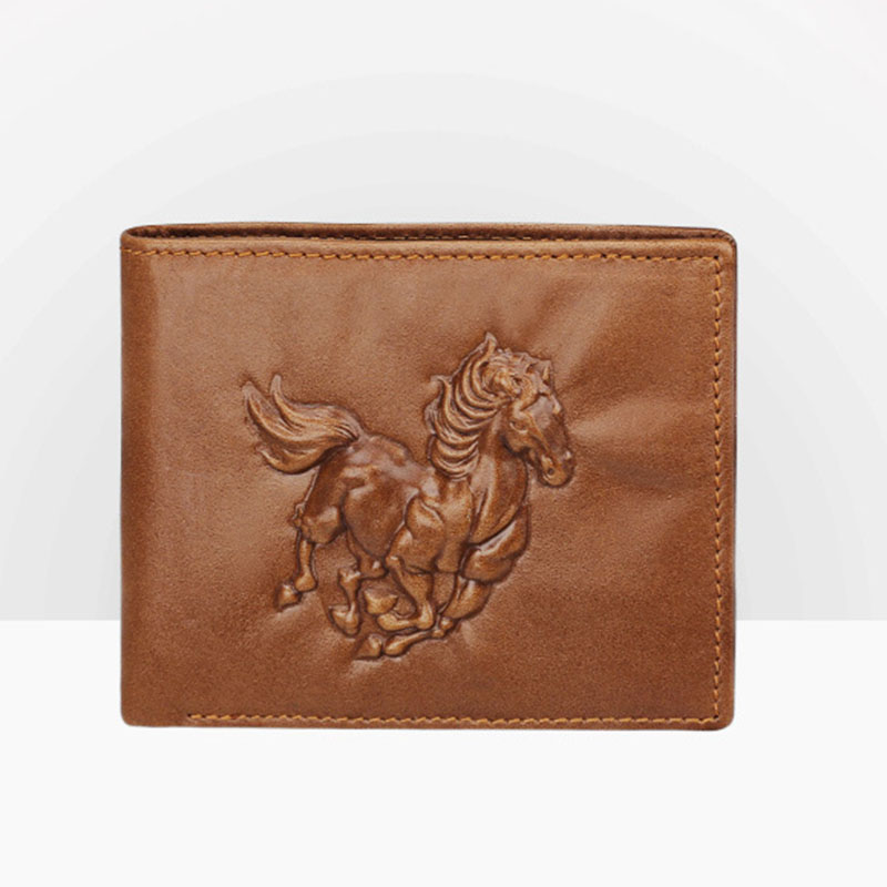 Short Genuine Leather Men Wallets Personality Pattern Brown Dark Coffee Cow Leather Wallet Credit Card Holder Coin Purse 2018