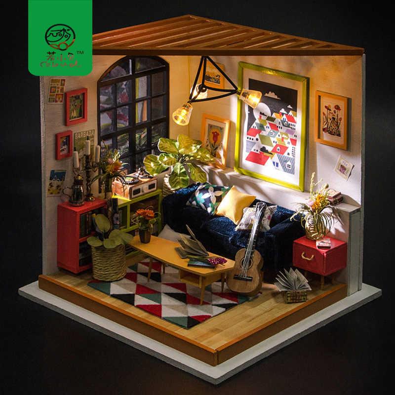 Robud DIY деревянный кукольный домик Миниатюрный Кукольный домик с мебель мини кукольный Locus гостиная подарок игрушечные лошадки для детей DG106