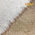 125*45CM Rose Gold-White Embroidery Paillettes Reversible Sequin Fabric Mermaid Sequin Fabric For Wedding/Party/Christmas Decor