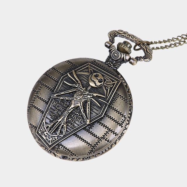 The Nightmare Before Christmas Pocket Watch Jack Skellington Skull Skeleton Quartz Pocket Watch Fob Chain Clock Women Mens Gifts