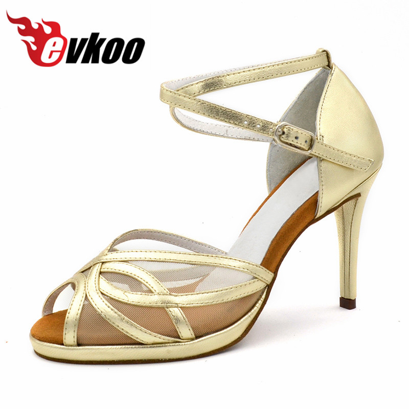 Lady's High heel with Plato Latin Dance Shoes black silver gold Latin Salsa Ballroom Dance Shoes for girls Evkoo-469 matisse dance with joy