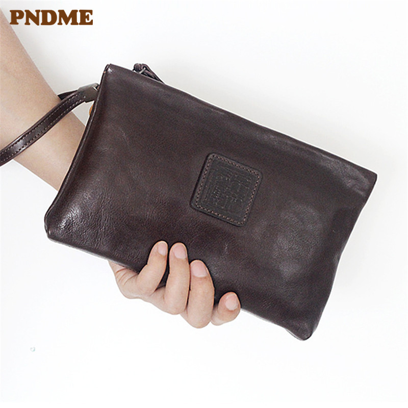 PNDME retro genuine leather clutch bag cowhide wallets simple long zipper card Coin Purses