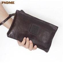 PNDME retro genuine leather clutch bag cowhide wallets simple long zipper card Coin Purses