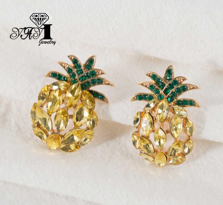Yayi Perhiasan Baru Kuning Kaca Berlian Buatan Dangle Anting-Anting Kristal Wanita Modis Perak Kuno Warna Gem Anting-Anting Hadiah 1565